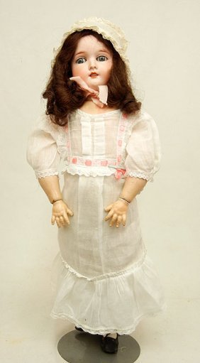 German Bisque Head Doll, Composition Body, Blue Sle