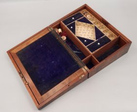 Mahogany Sewing Box With Mother Of Pearl