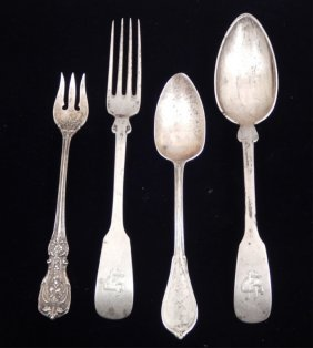 Four Silver Forks And Spoons