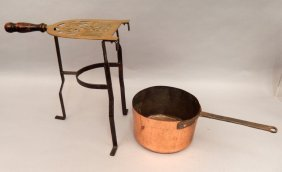 Early Brass And Iron Trivet Stand And Copper Pan