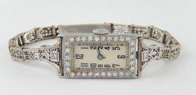 Antique Platinum And Diamond Ladies Wristwatch