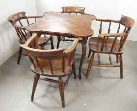 Game Table And Four Windsor Armchairs
