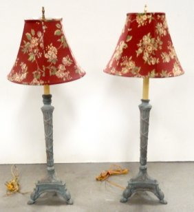 Pair Of Spelter Candlestick Lamps