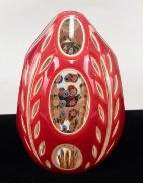 Large Double Overlay Egg Paperweight