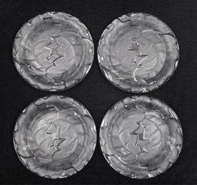 """Set Of Four Lalique """"chene"""" Salad Plates"""