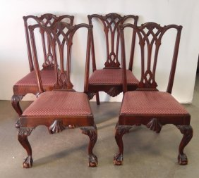 Set Of Four Mahogany Chippendale Style Chairs