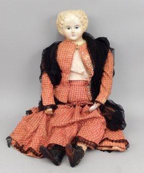 Antique Greiner Papier Mache Shoulder Head Doll