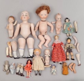 Grouping Of Antique Bisque Parts, Dolls, And More