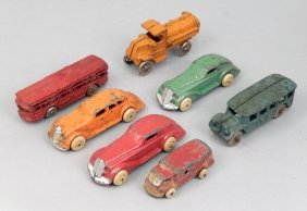 Seven Cast Iron And Diecast Cars