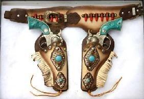 """Texan Junior"" Hubley Western Toy Gun Set W Holster"