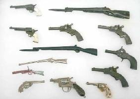 Lot Of Miniature Guns Mounted In Display Incl Marx