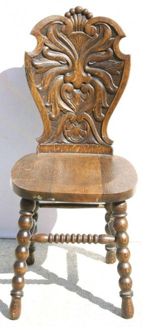 Antique Carved Oak Sidechair W Windblower Face