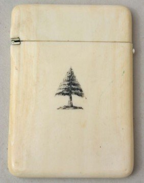 Victorian Ivory Card Case W Scrimshaw Dec On One S