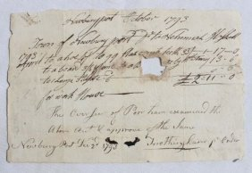 Rare Dated 1793 Newburyport, MA Town Work Order W