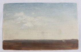 """Fine Small 4 1/2""""x7"""" O/paper """"Sky Study"""" Landscape"""