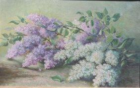 Hugo A. Possner (1859-1933) 14x22 O/c Still Life Of