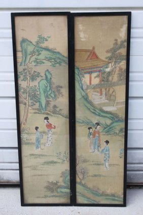 2 Antique Chinese Paintings On Silk - Each Is 32 1/4