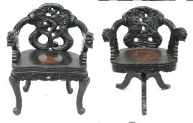 Lot Of 2 Highly Carved Chinese Chairs - 1 A Swivel D