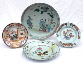 Lot Of 4 Antique Chinese Chargers &/or Plates Includ
