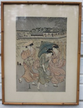 Lot Of 2 Antique Japanese Woodblock Prints One A 15