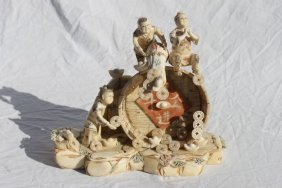 Chinese Bone Carved Sculpture W Figures & Coins - 1