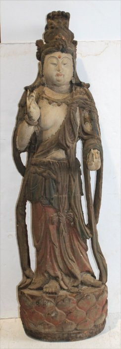 Early 19thc Wood Carved & Painted Figure Of Quan Yin -