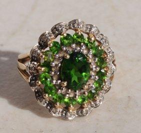 Beautiful 14k Gold Green Stone & Diamond Lady's