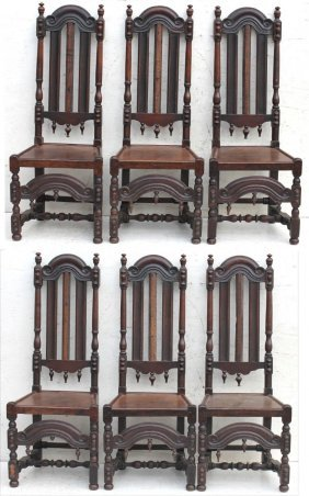 Great Set Of 6 18thc Late Wm & Mary Highly Carved