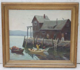 "Arthur Momand (1886-1987) 20""x24"" O/c Rockport Harbor"