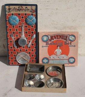 2 Ca 1920 Original Packaged Tin Child's Baking Sets - 1