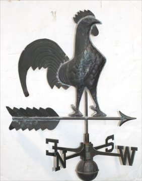 Mid 20thc Copper Rooster Weathervane On Arrow W