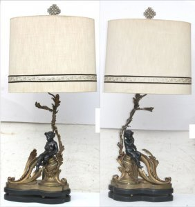 Wonderful Pr Of Early 20thc Large Bronze Lamps W