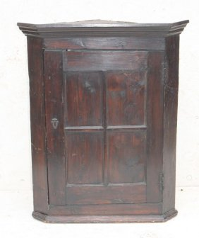18thc Pine Hanging 1 Door Corner Cupboard W 2 Fixed