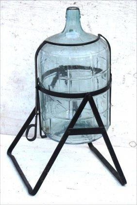 """Antique Glass Water Bottle In Iron Holder - 27"""" Tall"""