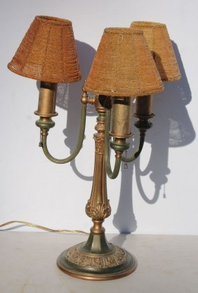 2nd Quarter 20thc Brass Embossed 3 Arm Table Lamp W