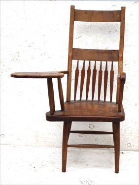 Antique Maple Writing Armchair - Late Windsor Form Ca