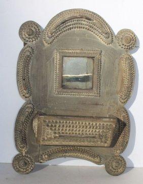 Fine 19thc Tramp Art Mirror/ Wall Pocket In Orig Putty