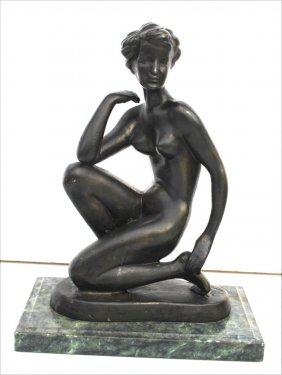 Bronze Figure Of A Woman Sgnd Indisticntly - 8 1/2""