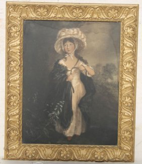 Antique Mezzotint Of A Girl W Bonnet In Fine Orig Frame