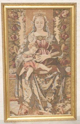 "20thc Belgium Tapestry Of Madonna & Child - 40""x25"""