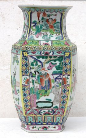 "19thc Chinese Porcelain 17 1/4"" Tall Hexagonal Shaped"