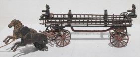 Excellent 19thc Cast Iron Dbl Horse Drawn Ladder Truck