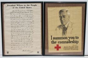 Lot Of 2 Woodrow Wilson Related Wwi Poster - 1 A 37