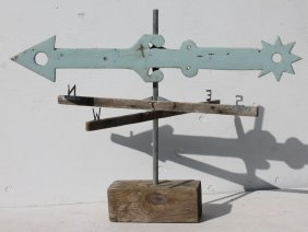 Folk Art Wooden Carved Arrow Form Weathervane Over