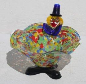 Attrib Murano Blown Glass Multi Colored Candy Dish W