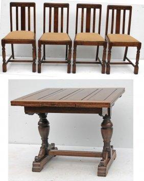 Fine Quality Vintage Arts & Crafts Carved Oak English