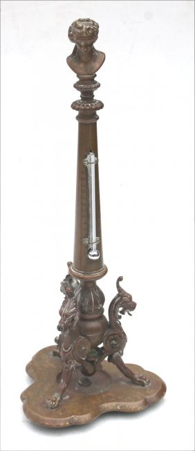 Grand Tour Period Bronze Thermometer On Griffin Base -