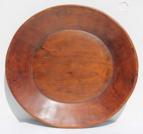 Great 18thc Large Size Wooden Plate Or Trencher In
