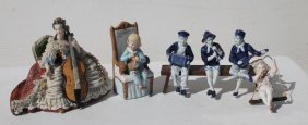 "Lot Of 6 German Figurines Incl A 9"" Dresden Woman, 2"