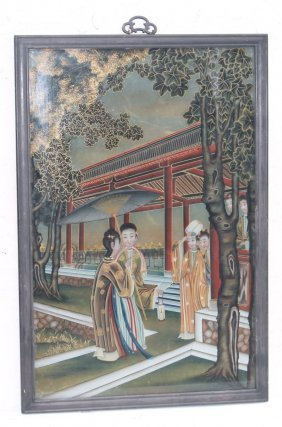 Mid 19thc Chinese Reverse Painting On Glass Landscape W